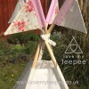shabby chic cream and pink rose teepee pole flags
