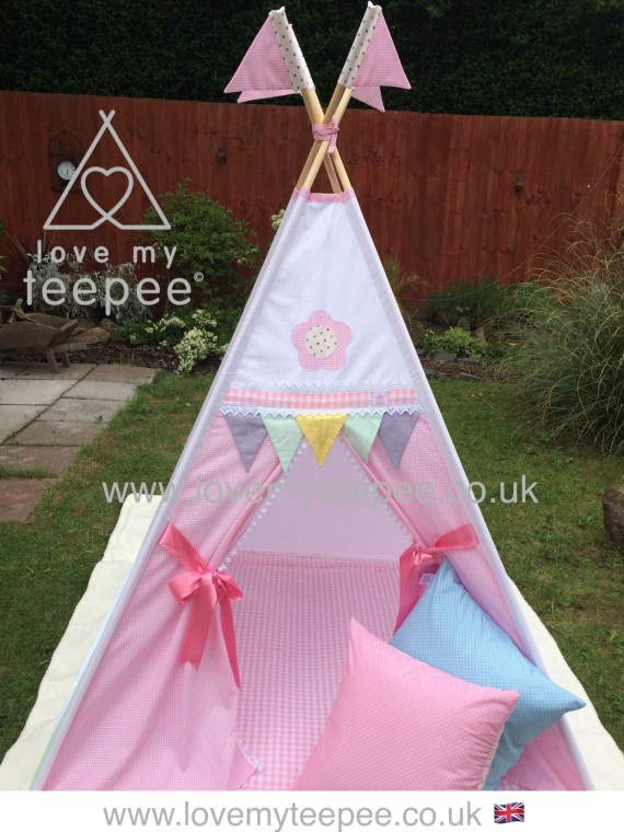 pink gingham pastel teepee tent