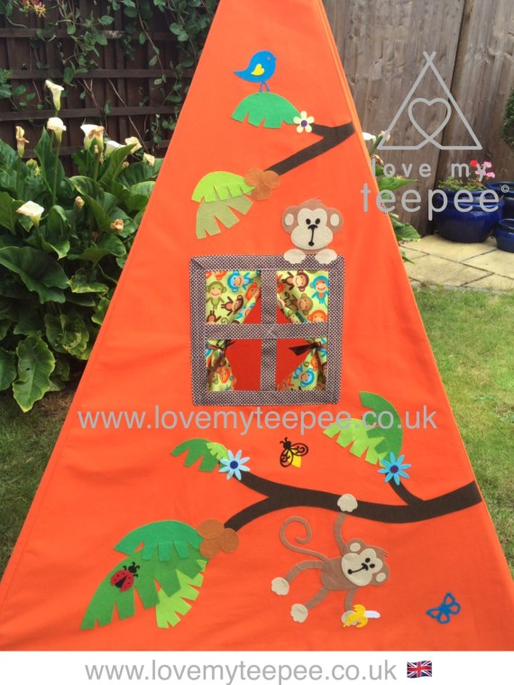 orange monkey appliqued teepee side panel with window