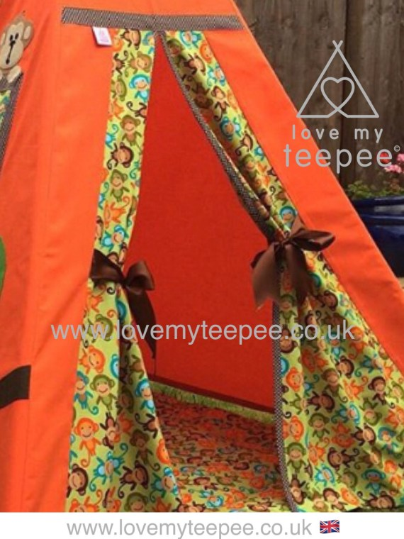 orange teepee monkey door fabric