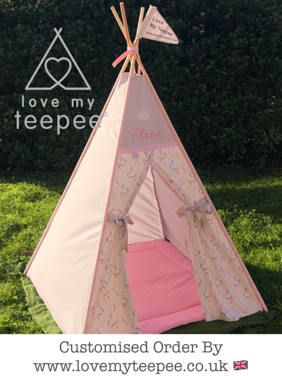 personalised pink and grey fairy teepee with floor mat