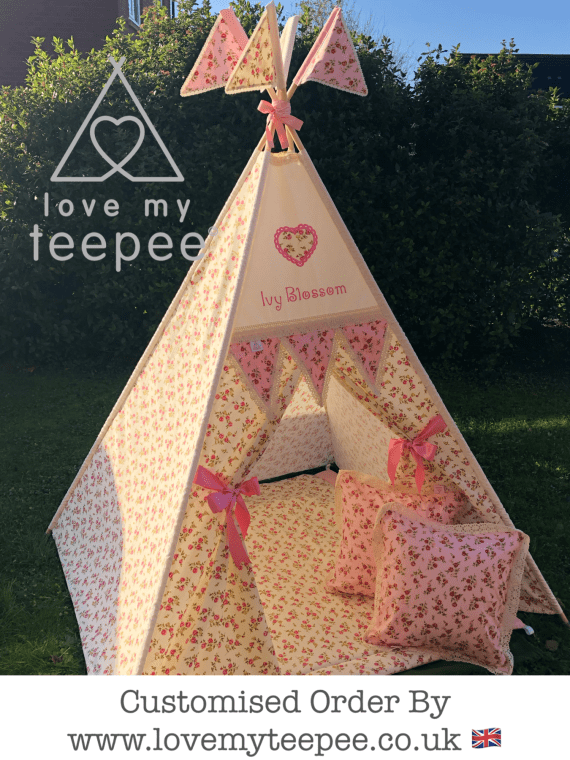 pink & cream handmade personalised teepee edged in cream lace with scatter cushion and floor mat