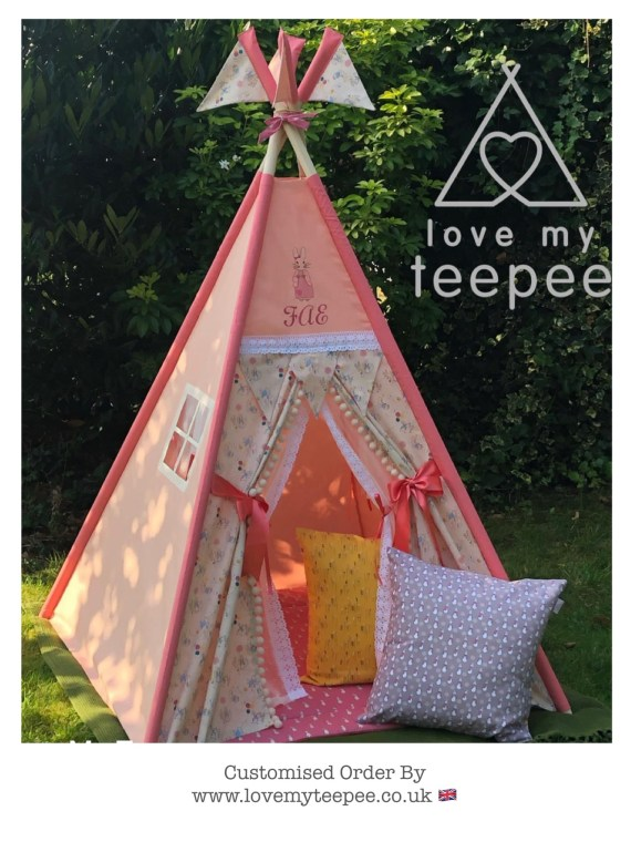 pink peter rabbit and flopsy teepee with lace doors