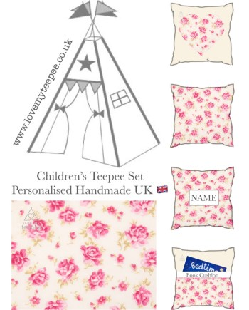 bella rose pink and ivory teepee set