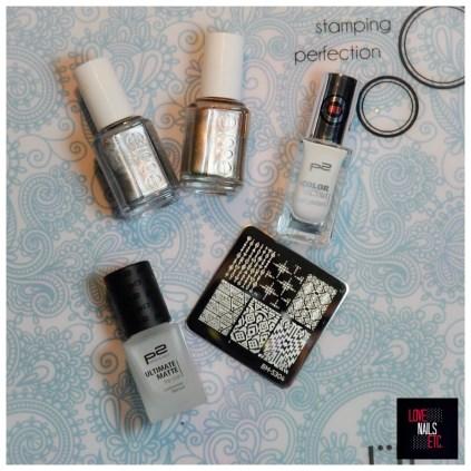 Essie Metallics; White nail polish; Stamping Plate; Matte top coat.