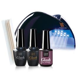 Kit à 59€: 1 Nail prep - 1 Base & top coat - 1 lampe LED - 1 vernis gel - Cadeau: Bâtonnets de buis