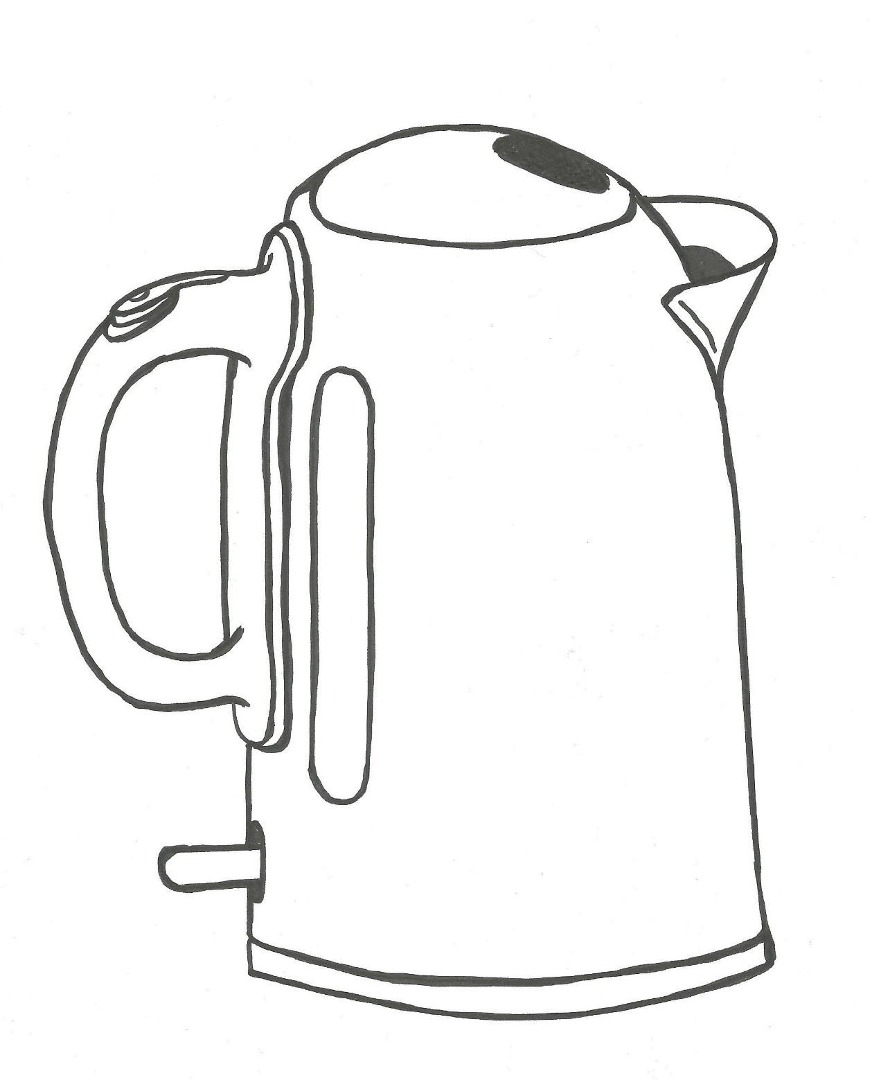 Easy Drawing Of Kettle Sketch Coloring Page