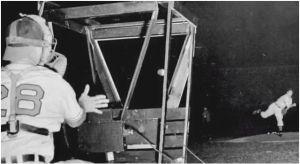 Bob Feller throws a ball into the Sky Screen Chronograph on August 20, 1946.