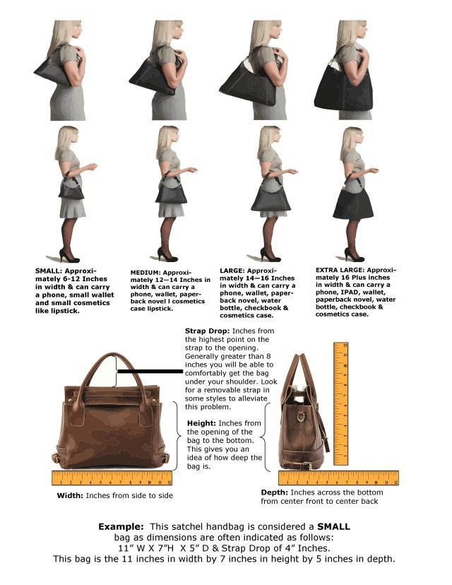 Women's Handbag Sizing Dimension Measurement Guide Chart