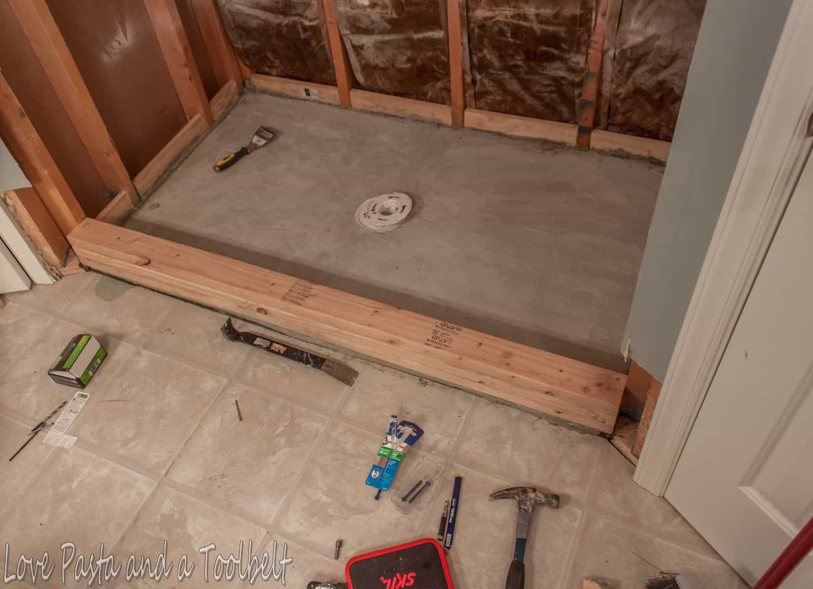 diy tile shower before and after