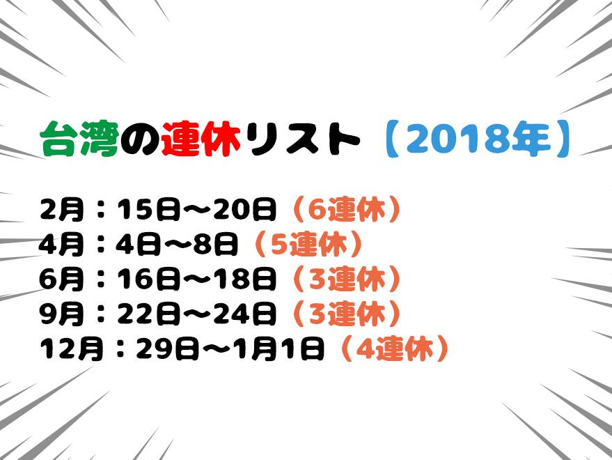台湾の連休リスト【2018年】