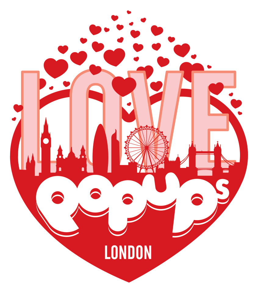 Love Pop Ups London valentines month logo