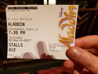 Aladdin ticket front row