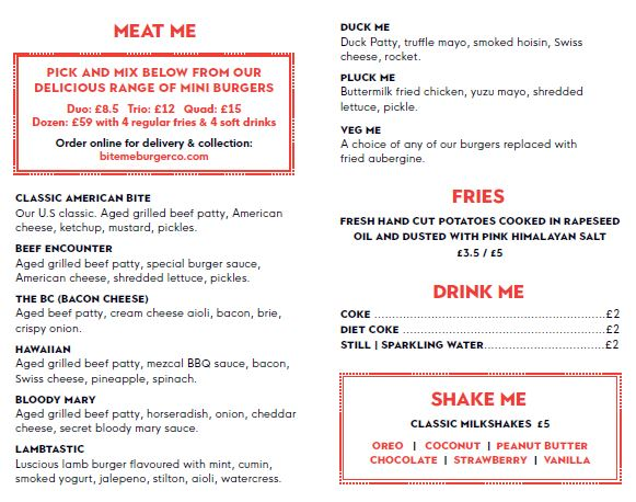 Bite Me Burger menu