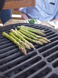 Jimmy Garcia BBQ Club asparagus cooking on BBQ