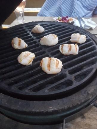 Jimmy Garcia BBQ Club scallops cooking on BBQ