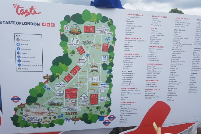 Taste of London 2018 map