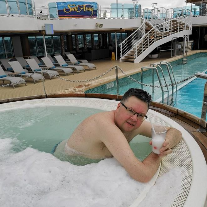 Sky Princess Jason in hot tub pool area deck 16