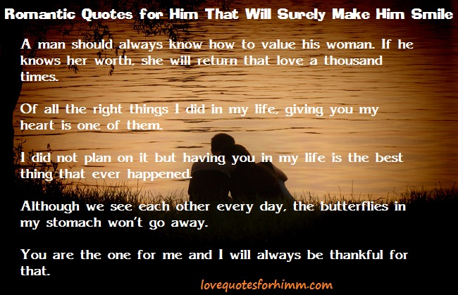Romantic Quotes for Him That Will Surely Make Him Smile