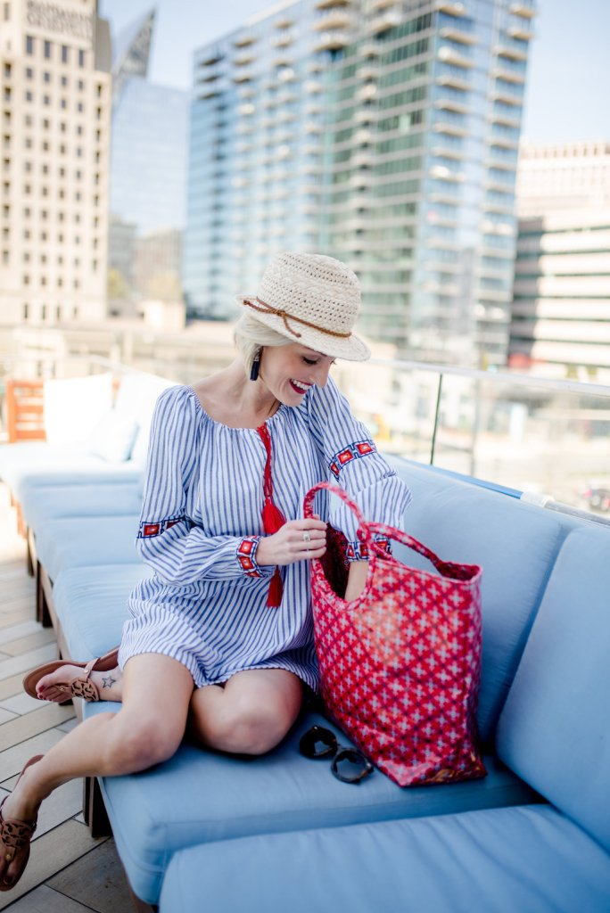 blue and white striped coverup - www.loverlygrey.com