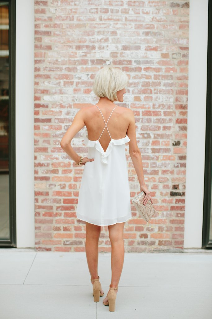 white dress with ruffles