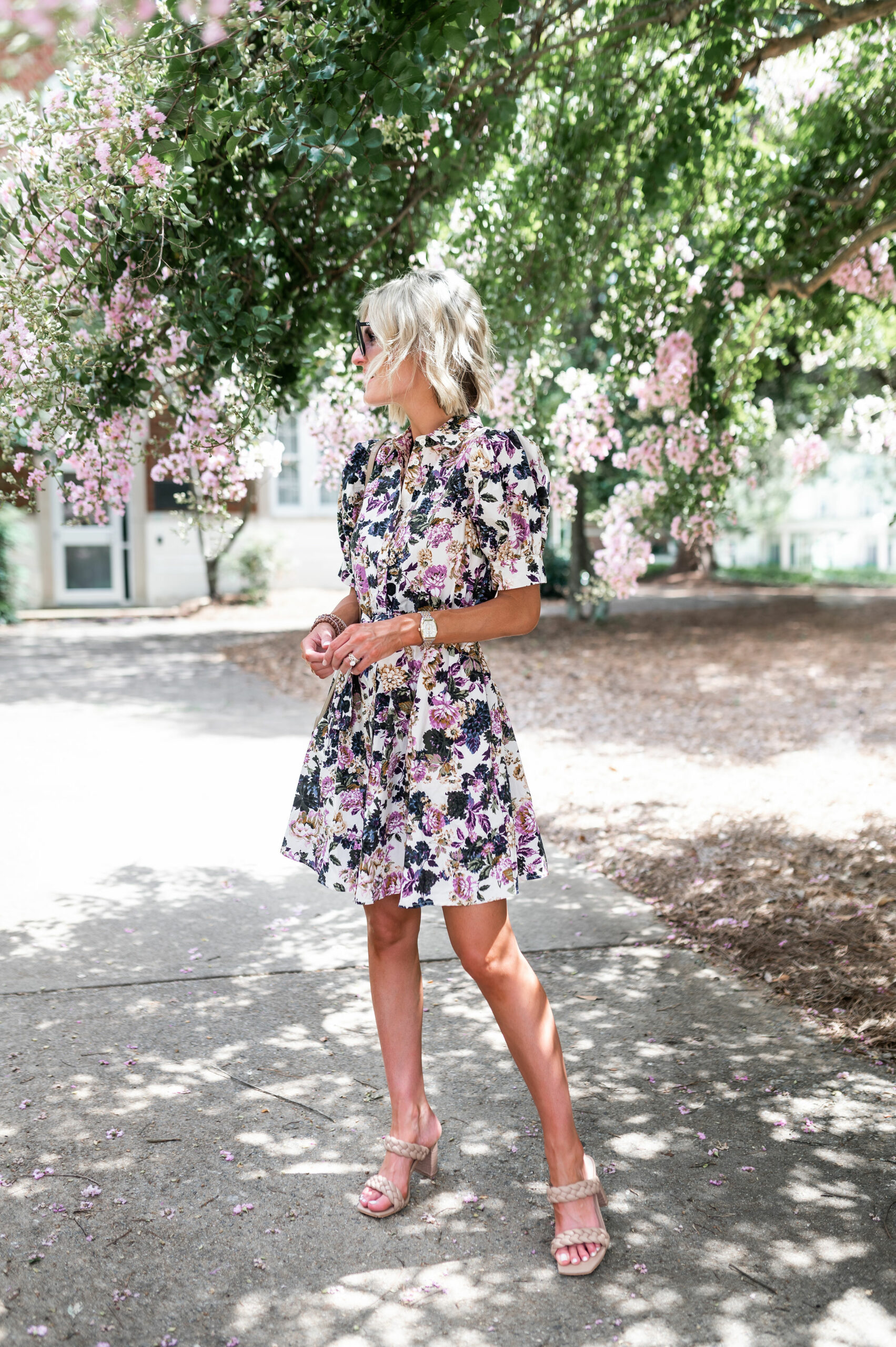 button front puff sleeve floral dress