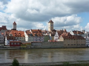 Regensburg walking tour - town from bridge overlook