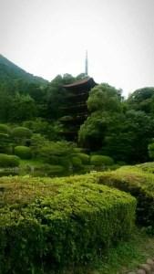 美しい緑に包まれた瑠璃光寺五重塔