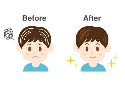 男性 白髪 イラスト before after