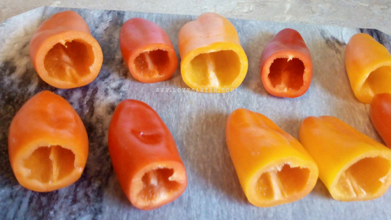 Peppers washed and seeded