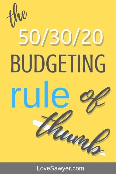 50/30/20 rule of budgeting