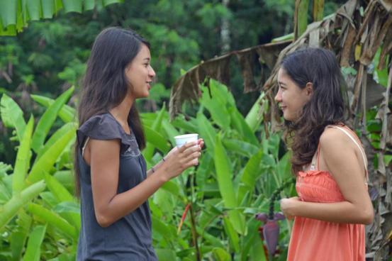 Talking in Grandma Shannon's garden in Santa Rita