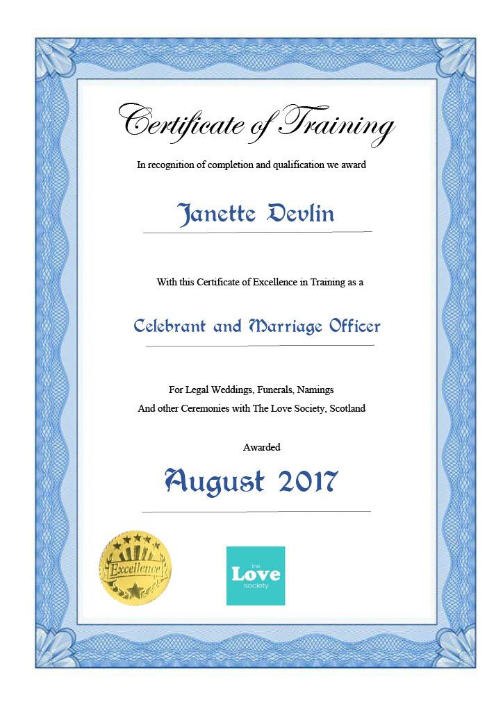 Janette Devlin Celebrant Training