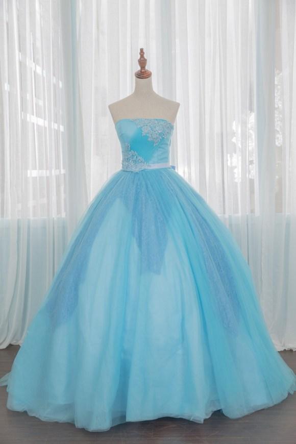 禮服出租:淡淡優雅香檳粉藍晚禮服-婚宴款