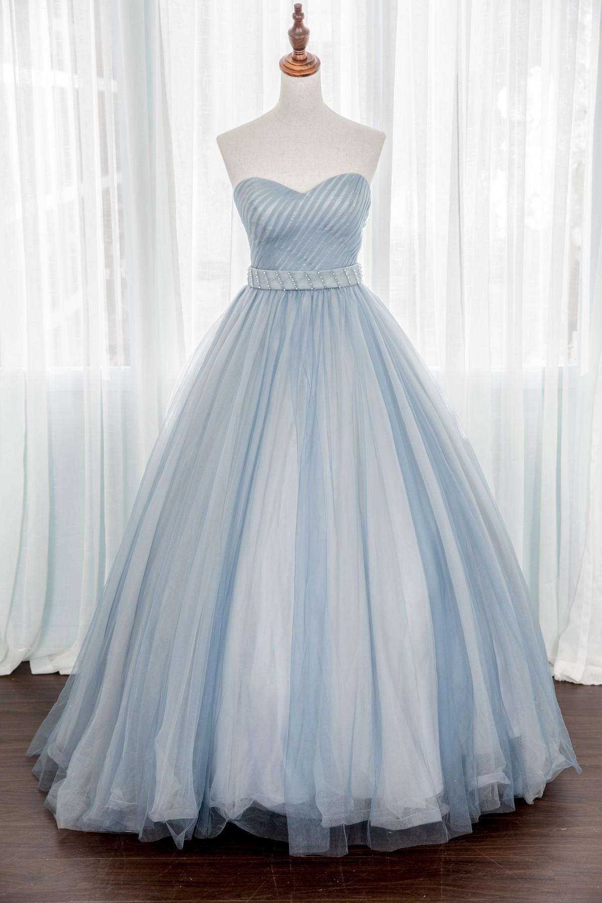 禮服出租:淡淡優雅天空藍雙色手工晚禮服-婚宴款
