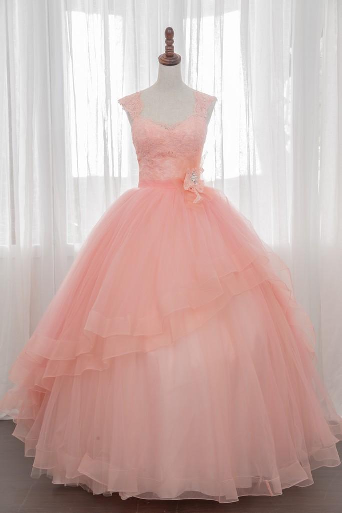 禮服出租:柑粉橘蕾絲晚禮服 [婚宴款]