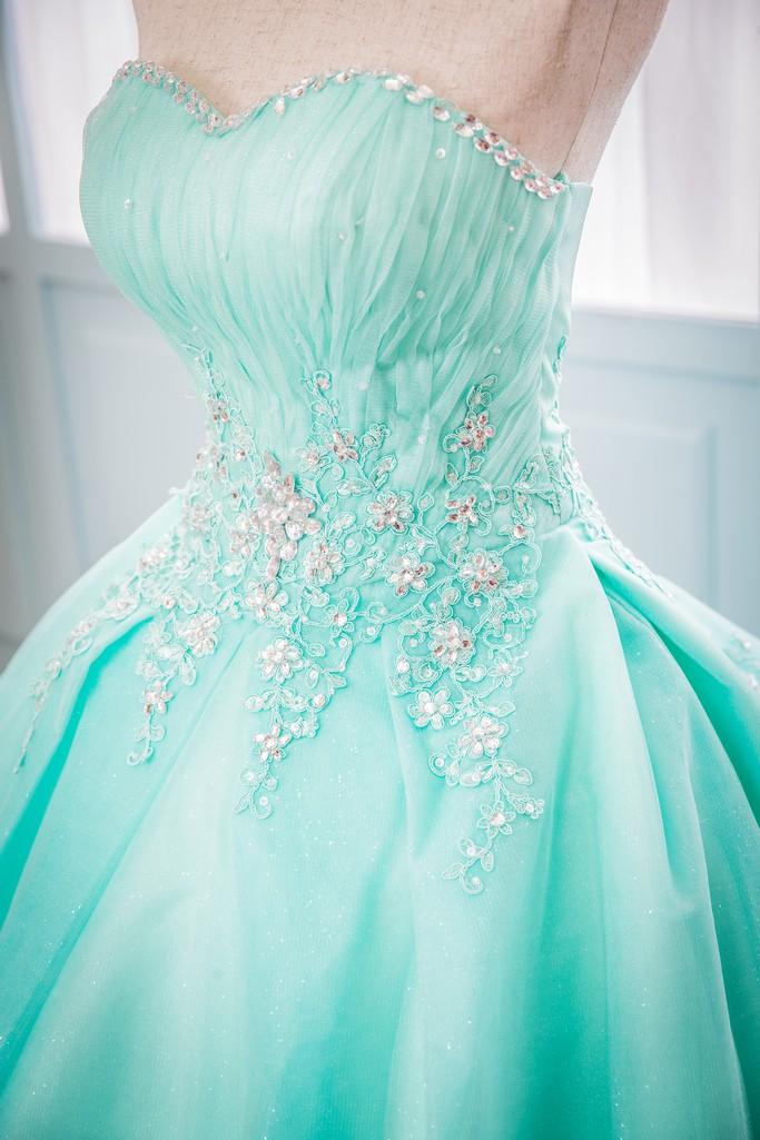 禮服出租:湖水綠色立體車骨蕾絲抹胸顯瘦晚禮服