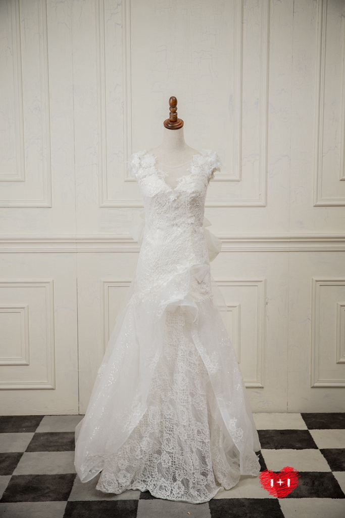 手工婚紗:奢華光緞白紗