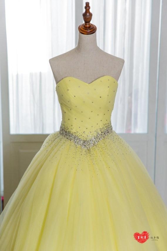手工婚紗:寶石流線晚禮服