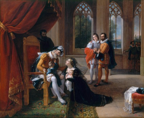 Inês de Castro with her children at the feet of Alfonso IV, King of Portugal, seeking clemency for her husband, Don Pedro, 1335 *oil on canvas *113 x 139 cm *signed b.r.: E'nie Servieres. 1822.