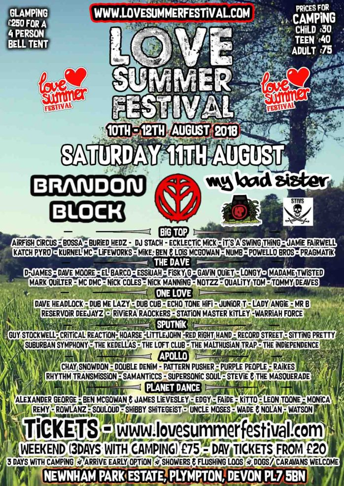 LOVE SUMMER 2018 FINISHED LINE UP - SATURDAY LQ