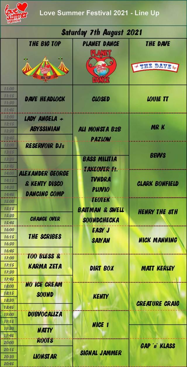 Saturday Daytime Line Up Schedule