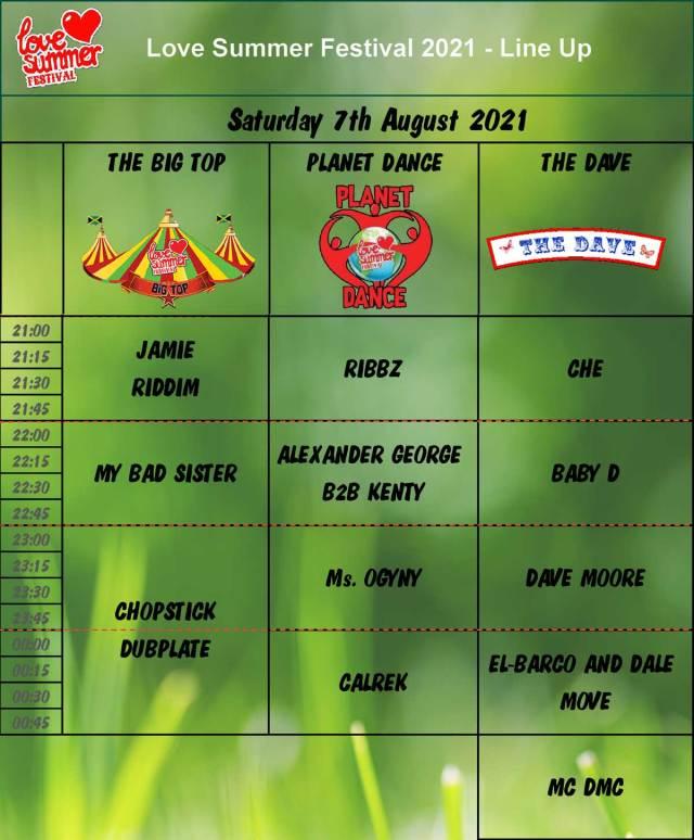 Saturday Night Line Up Schedule
