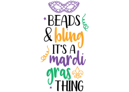 Free SVG cut file - Beads and Bling it's a Mardi Gras thing