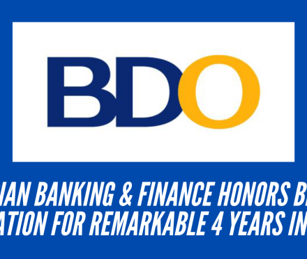 Asian Banking & Finance honors BDO Foundation for Remarkable 4 Years in a Row