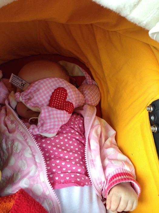 En Liza sliep en zoals ze de laatste tijd vaker doet: met d'r knuffel op haar hoofd!
