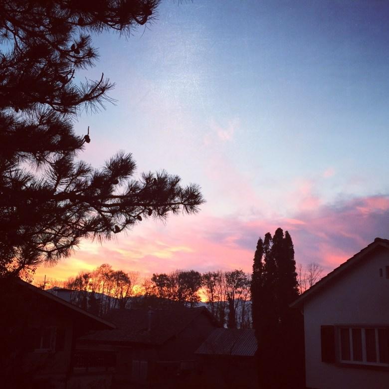 De vrijdag begon voor mij wat fitter en met deze mooie lucht