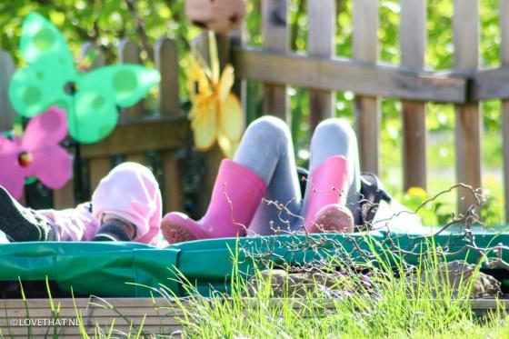 's Middags werd er dan ook weer lekker in de tuin gebanjerd.