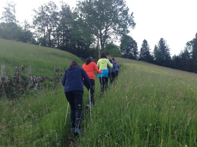 Woensdagavond liep ik met de nordic walking stokken en de vrouwen van de Frauenriege weer een enorm stuk omhoog. Het wordt nog eens wat met me :)