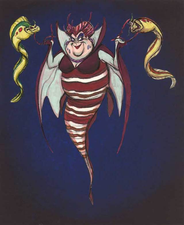 Ursula was in eerste instantie geen inktvis, bovenstaand beeld was een van de eerste schetsen.